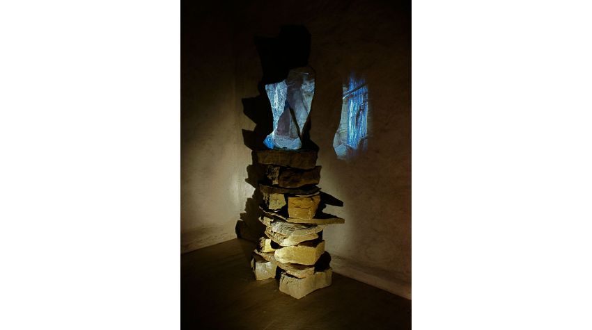 video projection on stone